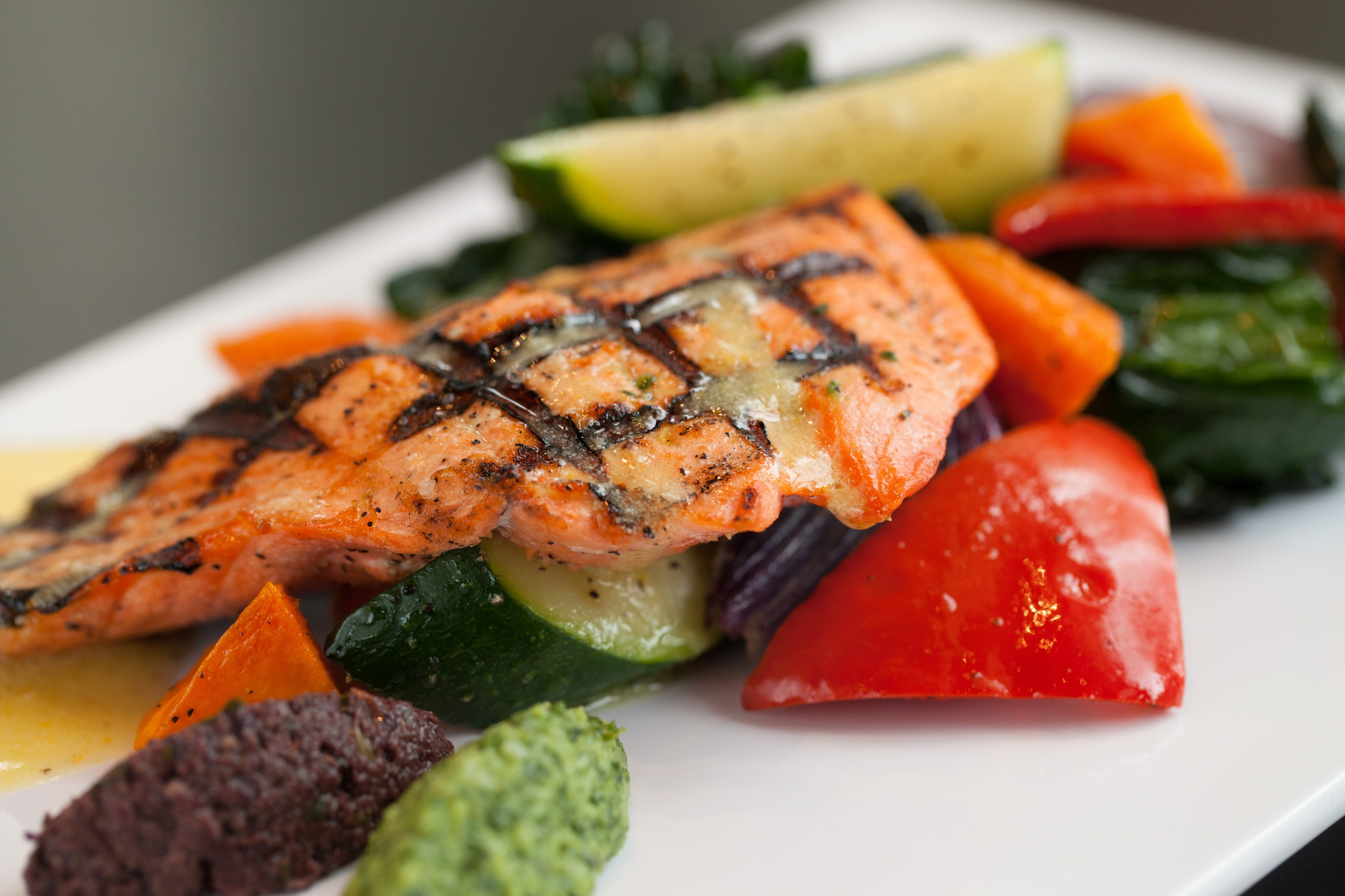 Grilled salmon with fresh veggies at Guest Chef Night