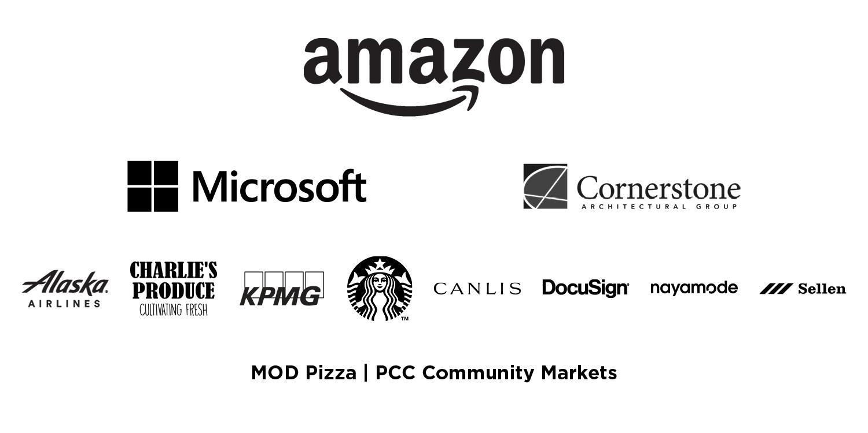 FareStart Gala Partner Logos: Amazon, Microsoft, Cornerstone
