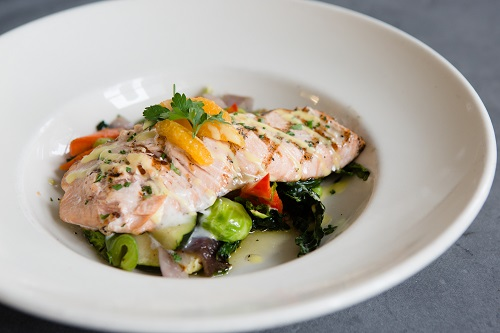 Salmon entrée by FareStart Catering
