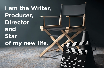 "This photo is displayed at FareStart all throughout the organization of the Director's chair with a quote ""I am the writer, producer, director and star of my new life."""